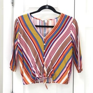 Miami Retro Striped Tie Waist Blouse (M)